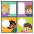 Kids with speech bubbles - Stock Vector