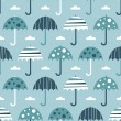 Seamless blue umbrellas — Stock Vector