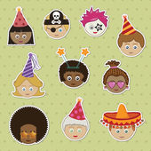 Party kids stickers — Stock Vector