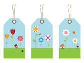 Flower tags — Stock Vector