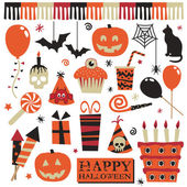 Halloween party elements — Vector de stock