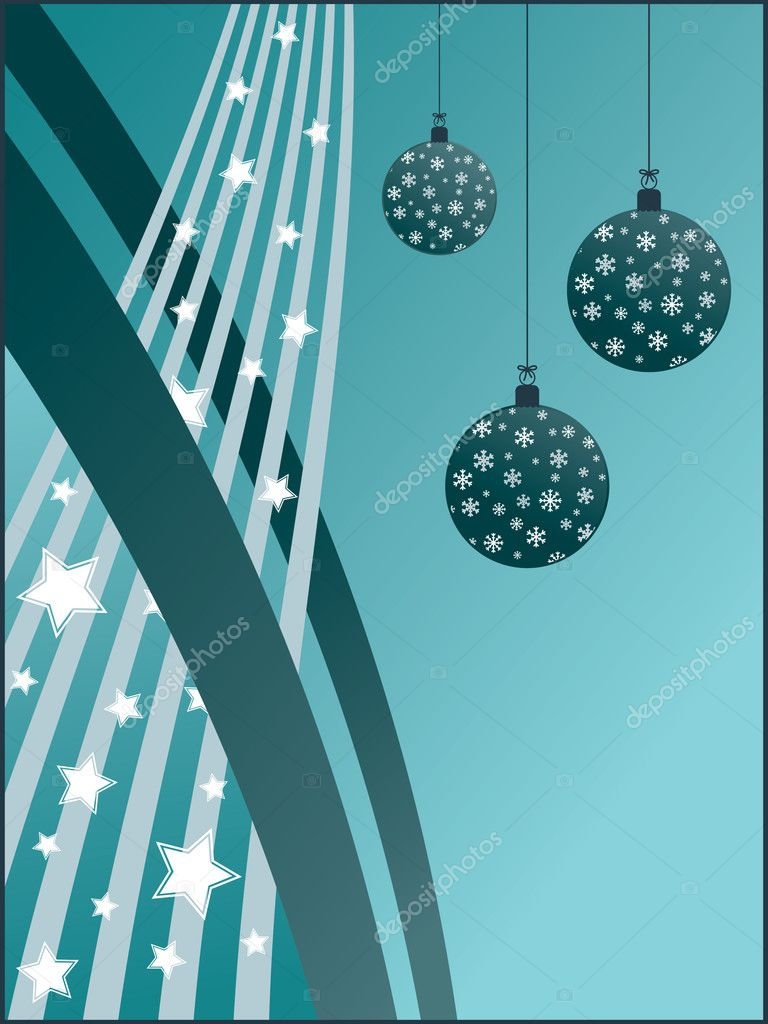 Blue gradient christmas background with decorations — Stock Vector #2251306