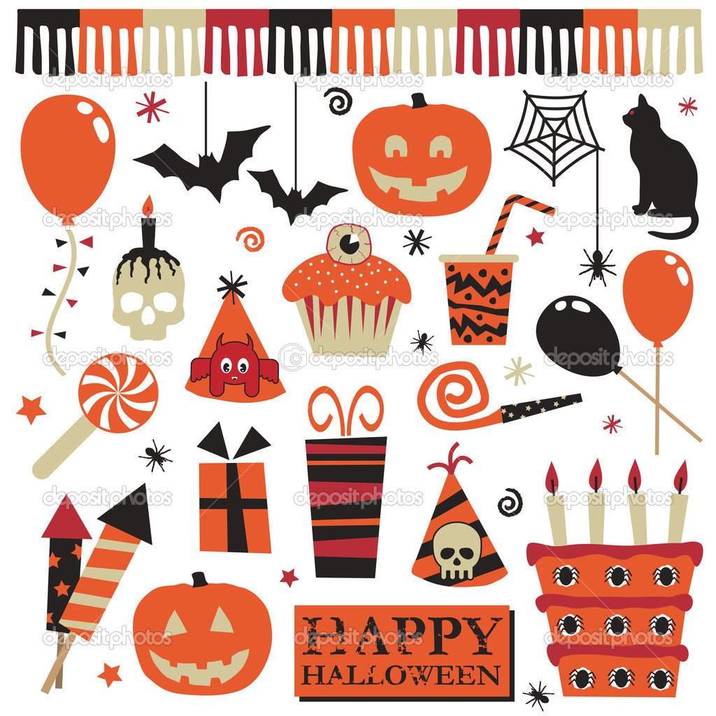 Collection of halloween party objects with pumpkins cake balloons gifts and decorations  Stock Vector #2251422