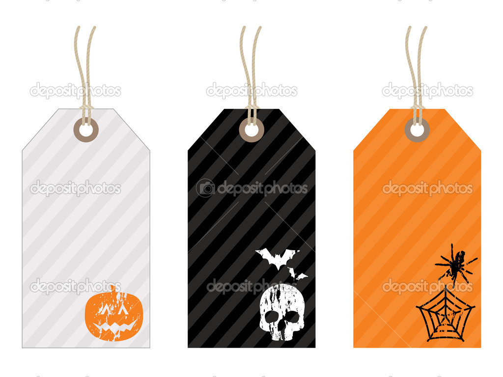 Halloween tags with motifs in white black and orange — Stock Vector #2251459