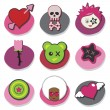 Kids emo icons — Stock Vector