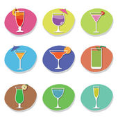 Cocktail icons — Stock Vector
