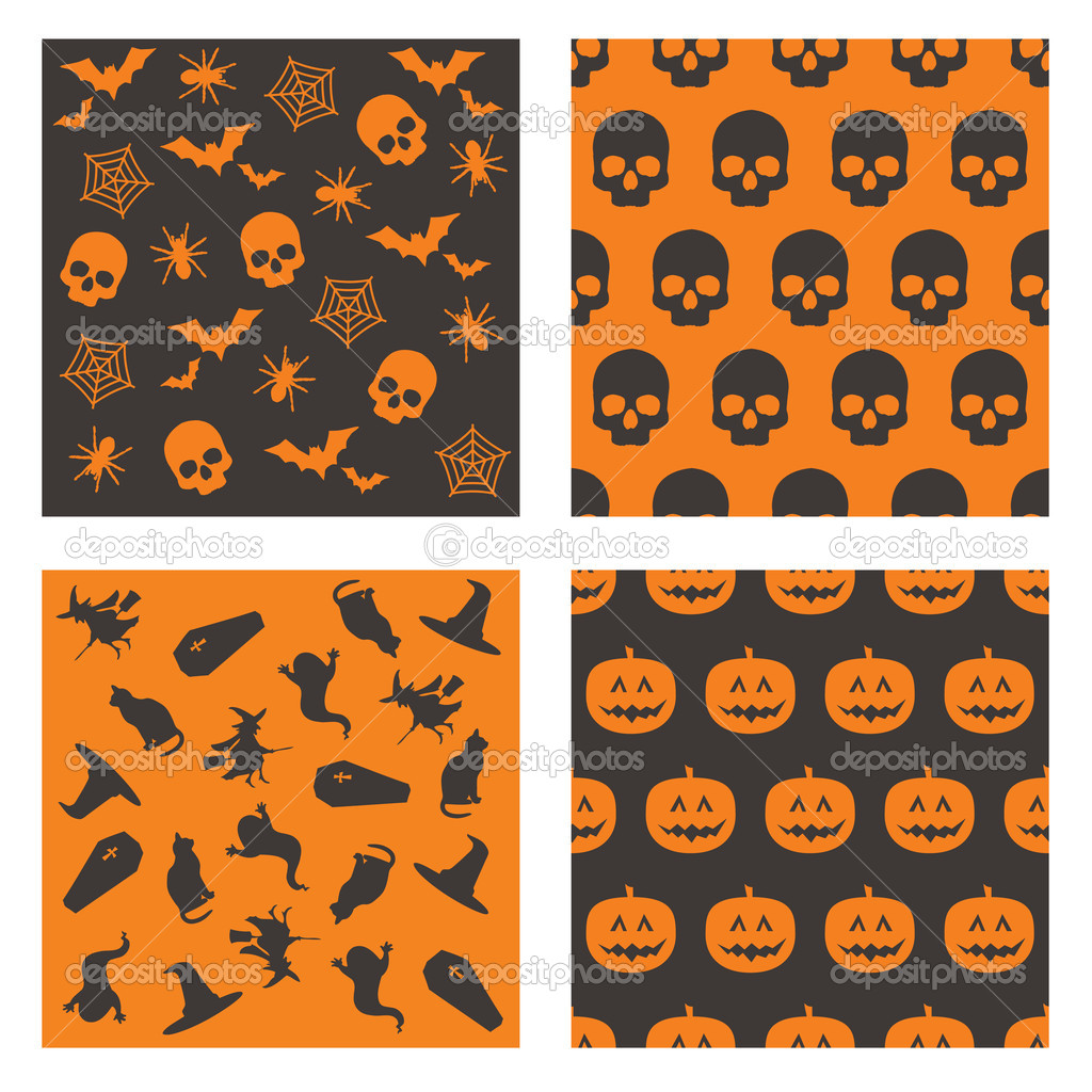 Collection of black and orange halloween patterns — ベクター素材ストック #2262143