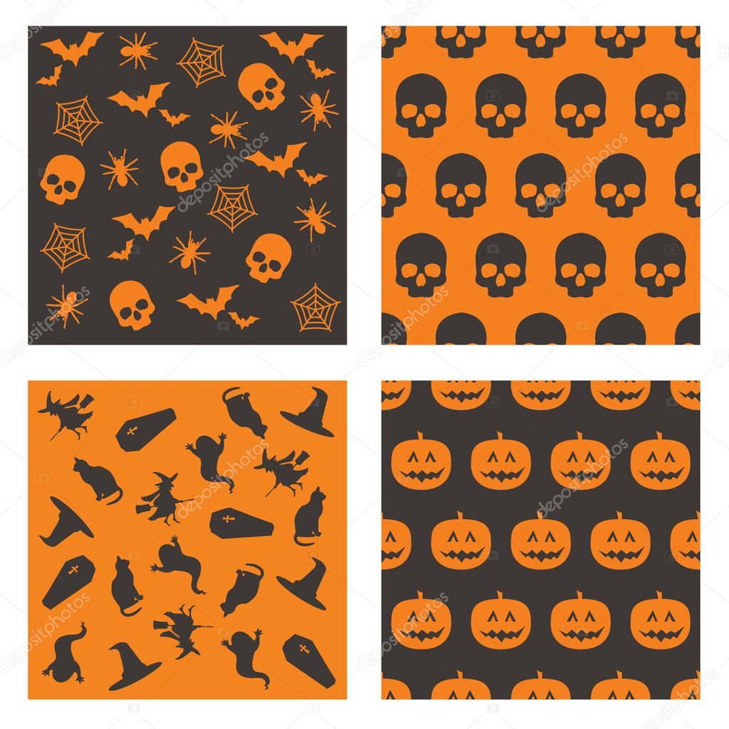 Collection of black and orange halloween patterns — Imagens vectoriais em stock #2262143