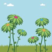 Big flowers — Stock Vector