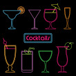 Neon cocktail signs — Imagen vectorial