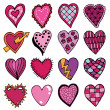 Hand drawn hearts — Stock Vector