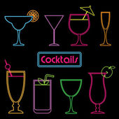 Neon cocktail signs — Stock Vector