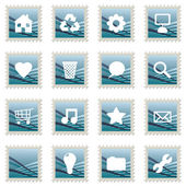 Blue stamp icons — Stock Vector