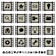 Stock Vector: Film cell icons set 1