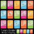 Stock Vector: Tab icons on black, set 2