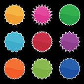 Bright retro stickers on black — Stock Vector