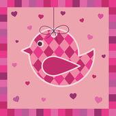 Pink bird greeting card — Stock Vector