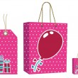 Pink bag and tag set - Stock Vector