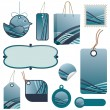 Blue tag set — Stock Vector