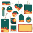 Green, orange and yellow tag set - Stock Vector