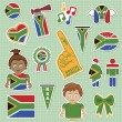 South africa supporter stickers - Stock Vector