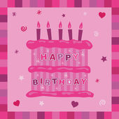 Pink cake birthday card — Stock Vector