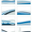 Stock Vector: Blue card set