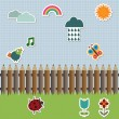 Pencil fence with stickers - Stock Vector
