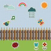 Pencil fence with stickers — Stock Vector