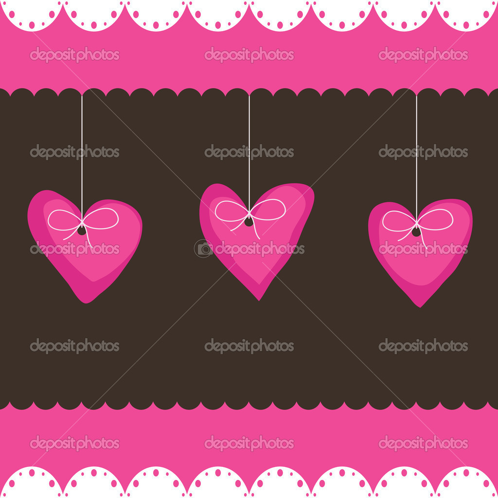 Pink and chocolate greeting card design with heart decorations — Stock Vector #2453112