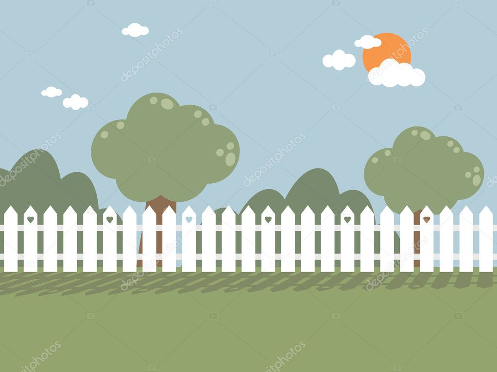 Landscape background with white picket fence — Stock Vector #2453453