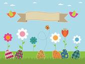 Easter flower garden — Stock Vector
