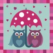 Stock Vector: Love owls