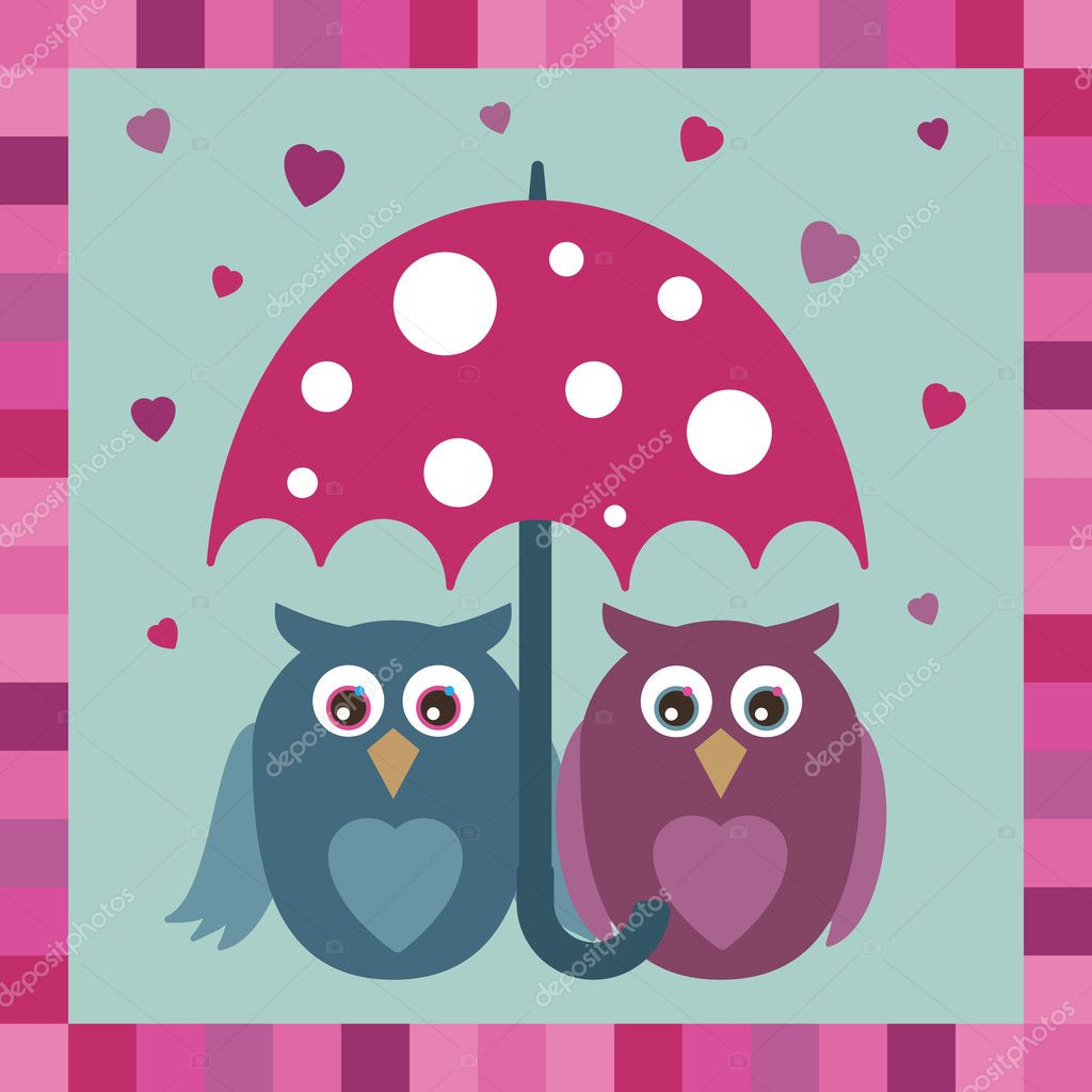 Owls in love under umbrella in blue and pink  Stock Vector #2618937