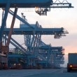 Container Terminal at dusk - Stock Photo