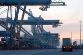 Container Terminal at dusk — Stock Photo