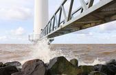 Wind turbine jetty — Stock Photo