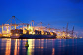 Container terminal at night — Stock fotografie