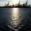Industrial harbor silhouette — Stock Photo