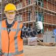 Satisfied construction worker — Stock Photo
