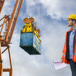 Inspecting a commercial harbor - Stock Photo