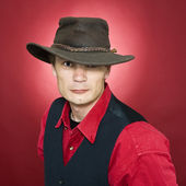 Man with leather hat — Stock Photo