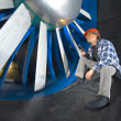 Inspecting a windtunnel — 图库照片