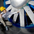 Stock Photo: Inspecting windtunnel