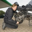 Checking a motorcycle — Stock Photo