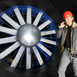 Engineer in a wind tunnel - Stockfoto