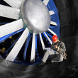 Stock Photo: Windtunnel mainenance worker