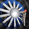 Inspecting a windtunnel - Stockfoto