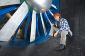 Inspecting a windtunnel — Stock Photo