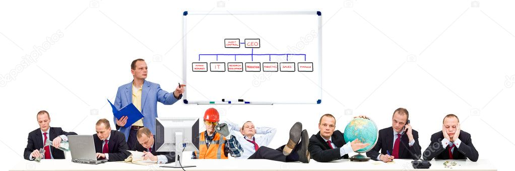 A visualisation of a simple, flat, business organization, with conceptual images of the various functions present at the conference table during a board meeting — Stock Photo #2101500